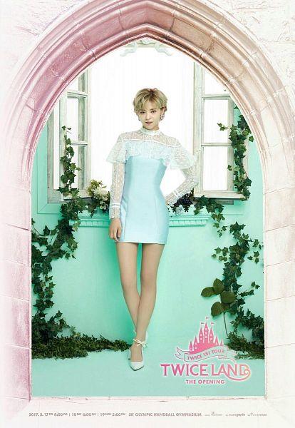 Tags: JYP Entertainment, K-Pop, Twice, Yoo Jeongyeon, Blue Dress, Hand On Hip, Blue Outfit, High Heels, Frame, Window, Text: Artist Name, Blue Background