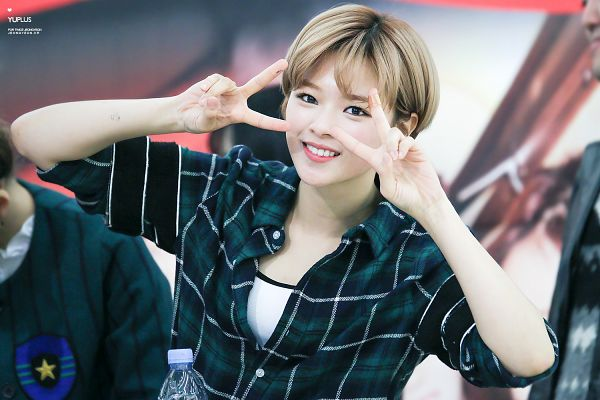 Tags: K-Pop, JYP Entertainment, Twice, Yoo Jeongyeon, Teeth, Blunt Bangs, Checkered Shirt, Bangs, V Gesture, Checkered, Fansigning Event, Wallpaper