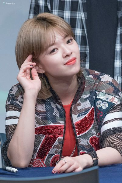 Tags: K-Pop, JYP Entertainment, Twice, Yoo Jeongyeon, Jewelry, Closed Mouth, Bent Knees, Necklace, Looking Ahead, Close Up, Short Hair, Red Shirt