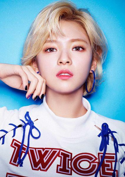 Tags: J-Pop, K-Pop, Twice, JYP Entertainment, Yoo Jeongyeon, Jewelry, Teeth, Short Hair, Contact Lenses, Close Up, Earrings, Simple Background
