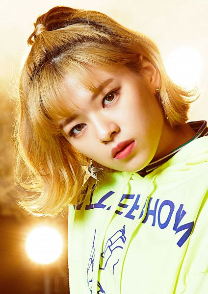 Tags: JYP Entertainment, K-Pop, Twice, Wake Me Up, Yoo Jeongyeon, Hair Up, Head Tilt, Close Up, Sweater, Blunt Bangs, Green Shirt, Ponytail