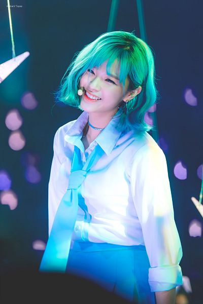 Tags: K-Pop, Twice, Yoo Jeongyeon, Uniform, Eyes Half Closed, Blue Hair, Skirt, Blue Skirt, Green Hair, Dark Background, Medium Hair, Blue Neckwear