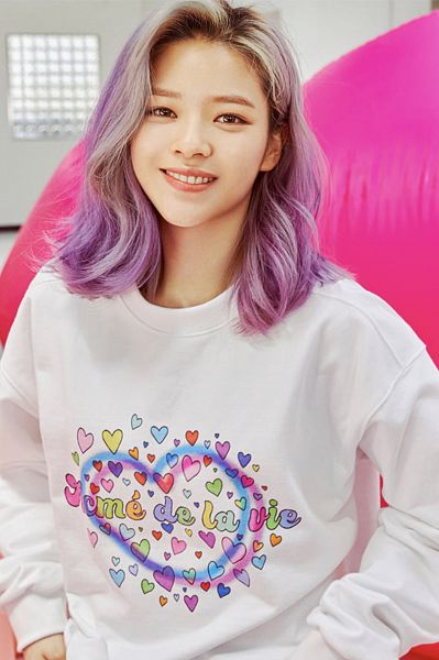 Tags: K-Pop, Twice, Yoo Jeongyeon, Multi-colored Hair, Sweater, French Text, Purple Hair