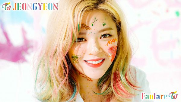 Tags: K-Pop, Twice, Yoo Jeongyeon, Messy Hair, Medium Hair, Text: Song Title, Light Background, Text: Artist Name, White Background
