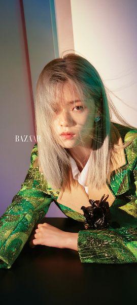 Tags: K-Pop, Twice, Yoo Jeongyeon, Green Outerwear, Gray Background, Harper's Bazaar, Magazine Scan