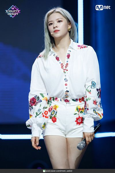 Tags: Television Show, K-Pop, Twice, Yoo Jeongyeon, Bare Legs, Shorts, Floral Print, White Shorts, Looking Up, Floral Shorts, Blue Background, Gray Hair