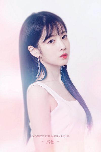 Tags: K-Pop, Lovelyz, Yoo Jiae, White Dress, Text: Artist Name, Sleeveless, Text: Album Name, White Outfit, Bare Shoulders, English Text, Sleeveless Dress, Light Background