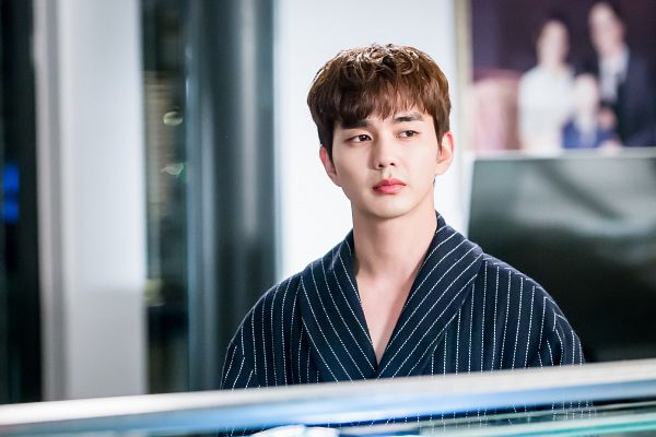 Tags: K-Drama, Yoo Seung-ho, Striped Outfit, Serious, Striped, Dressing Gown, I'm Not a Robot