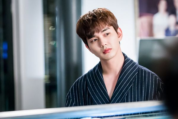Tags: K-Drama, Yoo Seung-ho, Striped, Dressing Gown, Looking Away, Striped Outfit, Serious, I'm Not a Robot