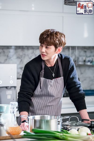 Tags: K-Drama, Yoo Seung-ho, Food, Vegetables, Necklace, Kitchen, Looking Ahead, Text: Series Name, Korean Text, Black Shirt, Apron, I'm Not a Robot