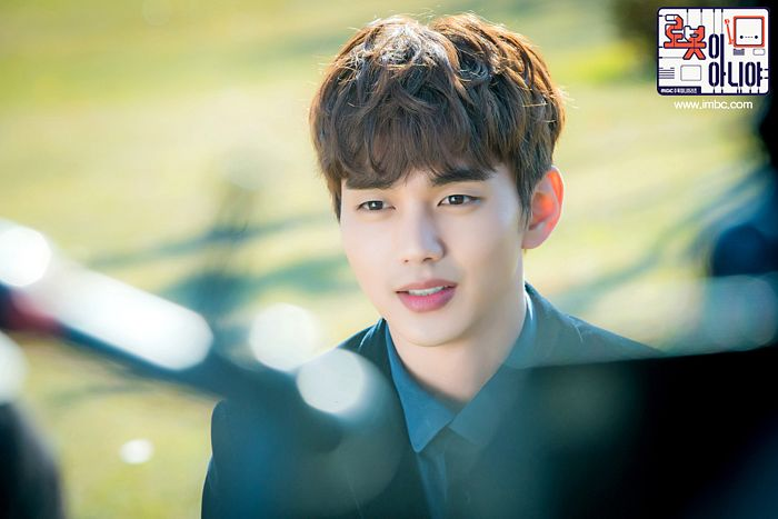 Tags: K-Drama, Yoo Seung-ho, Jacket, Looking Ahead, Tie, Text: Series Name, Korean Text, Blue Shirt, Black Outerwear, Black Jacket, I'm Not a Robot