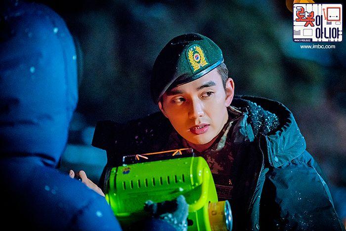 Tags: K-Drama, Yoo Seung-ho, Camouflage Print, Uniform, Hat, Serious, Text: Series Name, Night, Korean Text, I'm Not a Robot