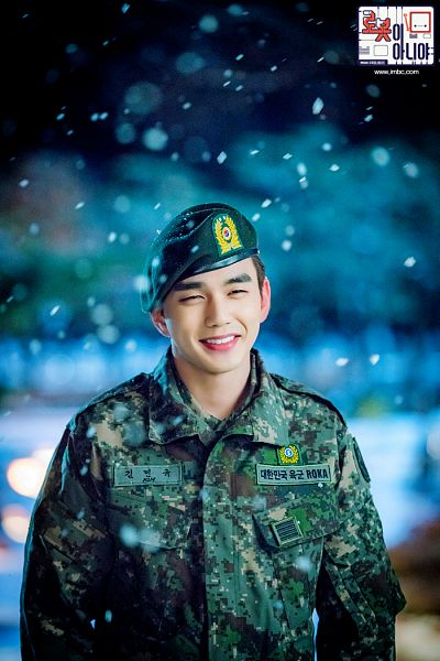 Tags: K-Drama, Yoo Seung-ho, Night, Text: Series Name, Korean Text, Snow, Camouflage Print, Uniform, Hat, I'm Not a Robot