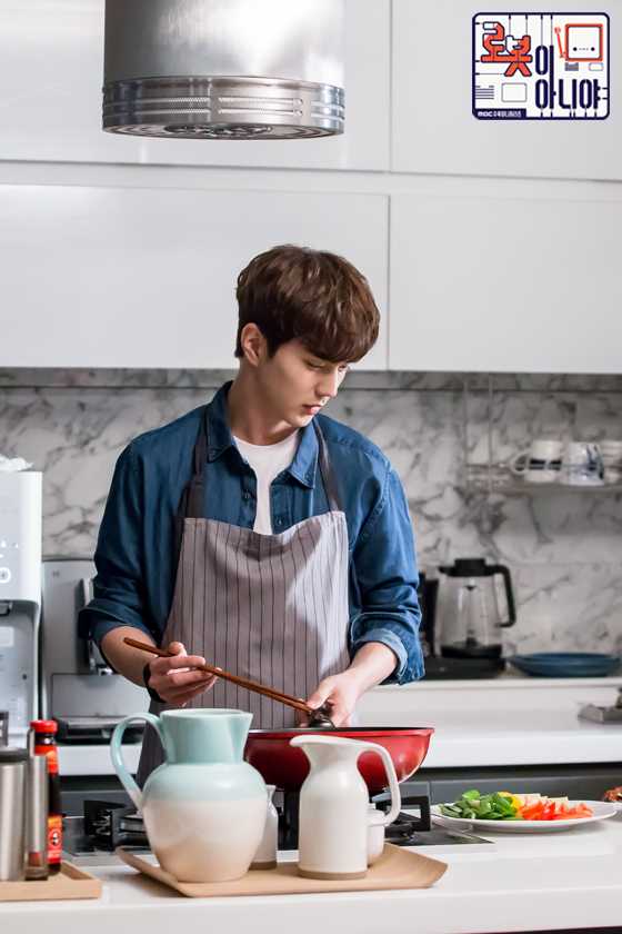 Tags: K-Drama, Yoo Seung-ho, Apron, Cooking, Text: Series Name, Blue Shirt, Vegetables, Text: URL, Food, Fridge, Kitchen, I'm Not a Robot