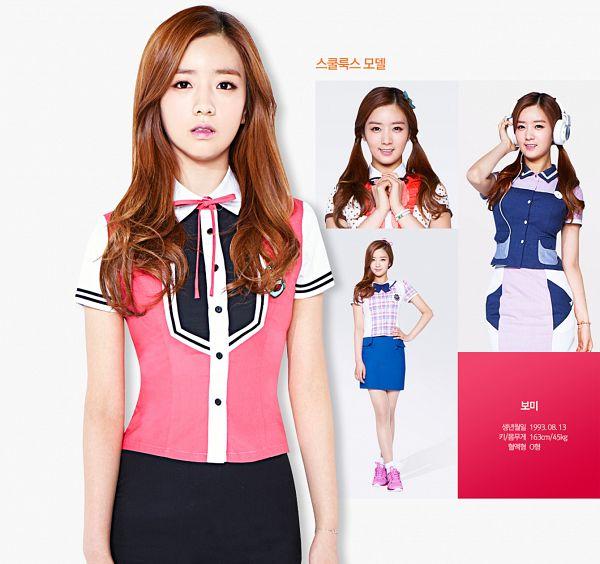 Tags: K-Pop, Apink, Yoon Bo-mi, Bare Legs, Pink Neckwear, Full Body, White Skirt, Bow, Sneakers, Pink Bow, Checkered, Headdress