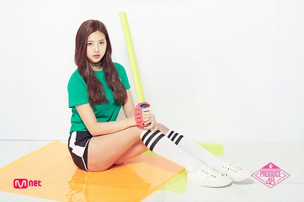 Tags: Television Show, K-Pop, Yoon Haesol, Holding Object, Thigh Highs, Green Shirt, Light Background, Sitting On Ground, Short Sleeves, White Background, White Footwear, Shoes