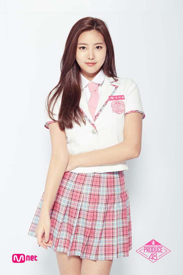 Tags: K-Pop, Television Show, Yoon Haesol, Pink Skirt, Pink Neckwear, Light Background, Checkered Skirt, Short Sleeves, Checkered, White Background, White Jacket, Tie