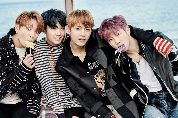 Tags: K-Pop, Bangtan Boys, Rap Monster, Jungkook, V (Kim Taehyung), Suga, Lollipop, Arm Around Shoulder, Quartet, Four Males, Candy, Wallpaper