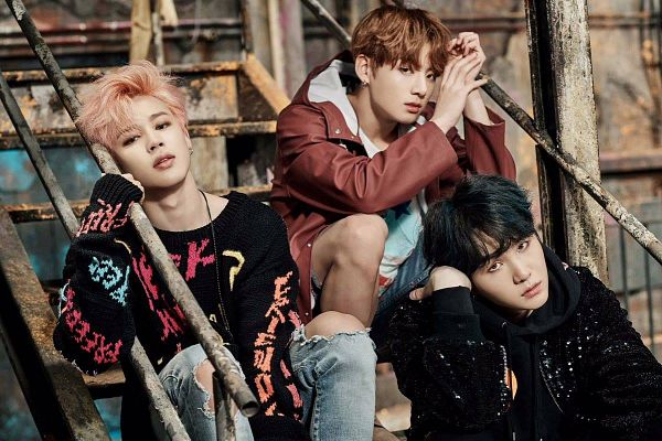 Tags: K-Pop, Bangtan Boys, Jungkook, Park Jimin, Suga, Sitting, Stairs, Three Males, Sitting On Stairs, Trio, You Never Walk Alone