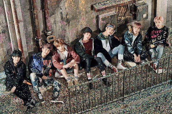 Tags: K-Pop, Bangtan Boys, V (Kim Taehyung), Rap Monster, Park Jimin, J-Hope, Suga, Jungkook, Jin, Sitting, Confetti, Bent Knees