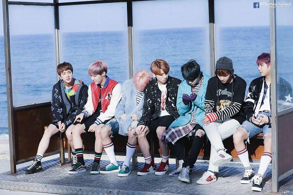Tags: K-Pop, Bangtan Boys, Jungkook, Jin, V (Kim Taehyung), Rap Monster, Park Jimin, J-Hope, Suga, Bent Knees, Sitting On Bench, Sitting