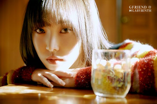 Tags: K-Pop, G-friend, Yuju, Sweater, Glass (Cup), Cup, Striped Shirt, Serious, Striped