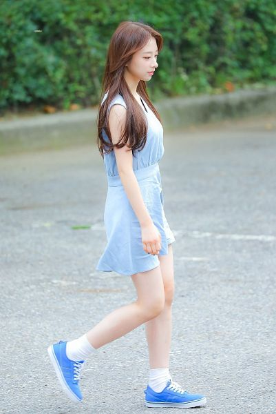 Tags: K-Pop, Rocket Punch, Yunkyoung, Socks, Blue Dress, Walking, Bare Legs, Looking Down, Side View, Sleeveless Dress, Blue Outfit, Outdoors