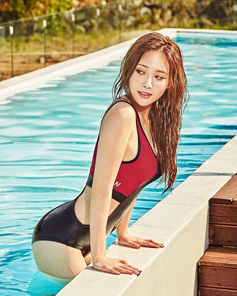 Tags: K-Pop, Girls' Day, Yura, Looking Away, Water, Outdoors, Butt, Swimming Pool, Wet, Suggestive, Swimsuit, Looking Back