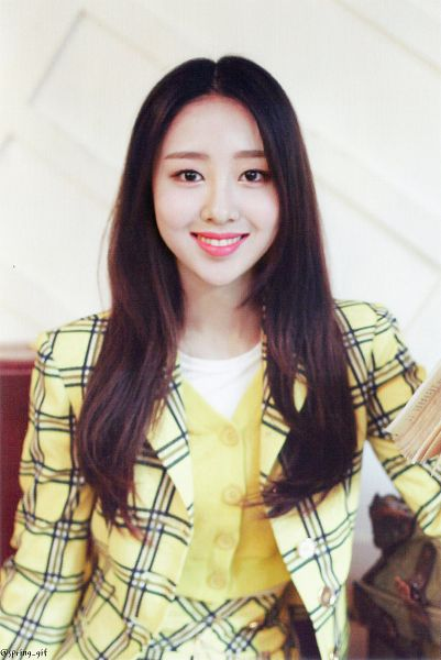 Tags: K-Pop, LOOΠΔ, New, Yves, Yellow Shirt, Light Background, Yellow Outerwear, White Background, Yellow Skirt, Teeth, Sitting, Checkered Skirt
