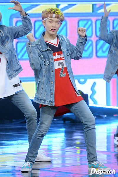 Tags: K-Pop, NCT Dream, NCT, Zhong Chenle, Blunt Bangs, Denim Jacket, Arms Up, Shoes, Dancing, Red Shirt, Jeans, Multi-colored Shirt