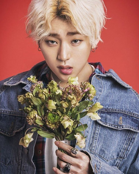 Tags: K-Pop, Block B, Zico, Blonde Hair, Contact Lenses, Ring, Denim Jacket, Red Background, Jacket, Blue Eyes, Close Up, Earrings