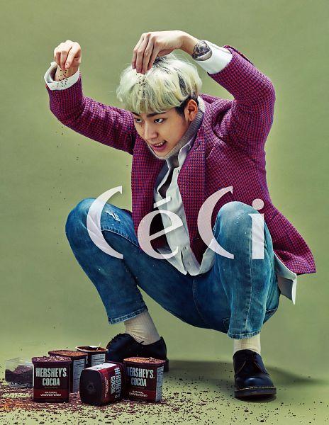 Tags: K-Pop, Block B, Zico, Socks, Crouching, Facial Mark, Green Hair, Jeans, Tattoo, Turtleneck, Multi-colored Hair, Sweets