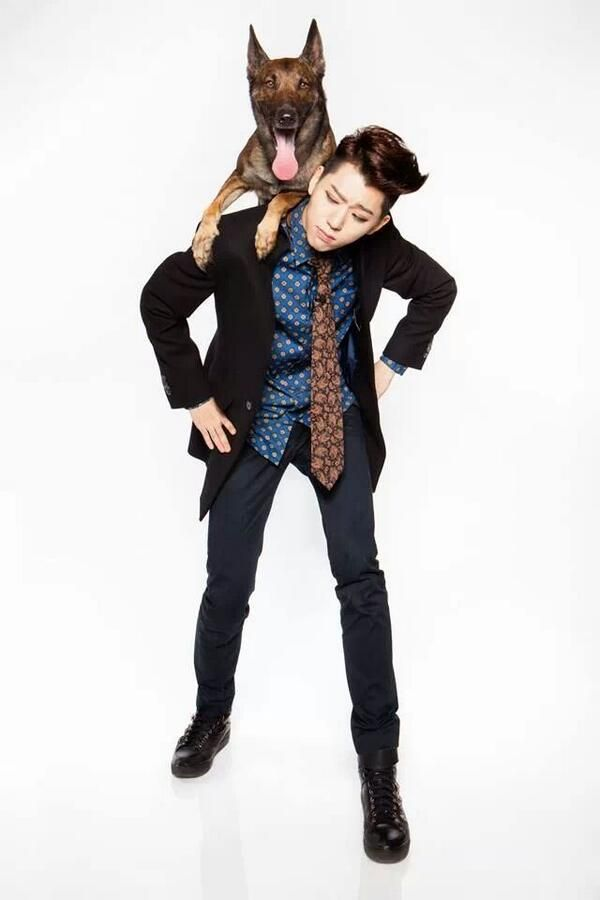 Tags: K-Pop, Block B, Zico, Light Background, White Background, Dog, Animal