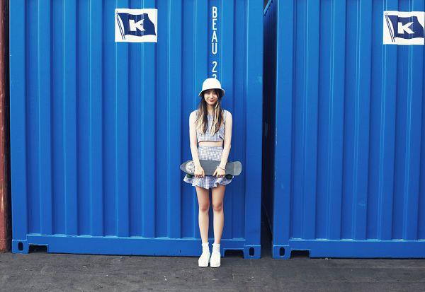 Tags: Ladies Code, Kiss Kiss, Zuny, Blue Skirt, Hat, Skateboard, Blue Shirt, White Headwear, Skirt, Checkered Shirt, Multi-colored Hair, Checkered Skirt
