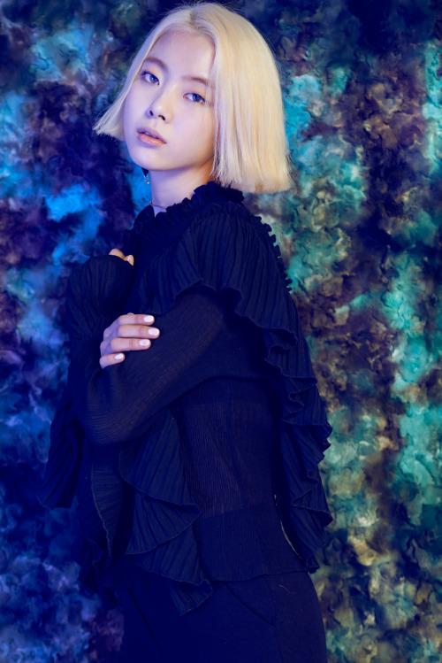 Tags: K-Pop, Ladies Code, Zuny, Crossed Arms, Black Outfit, Black Jacket, Black Outerwear, Blonde Hair, Black Dress