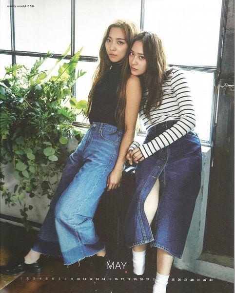 Tags: SM Town, K-Pop, f(x), Luna, Krystal Jung, Black Shirt, Denim Skirt, Head On Shoulder, Striped, Window, Jeans, Closed Mouth
