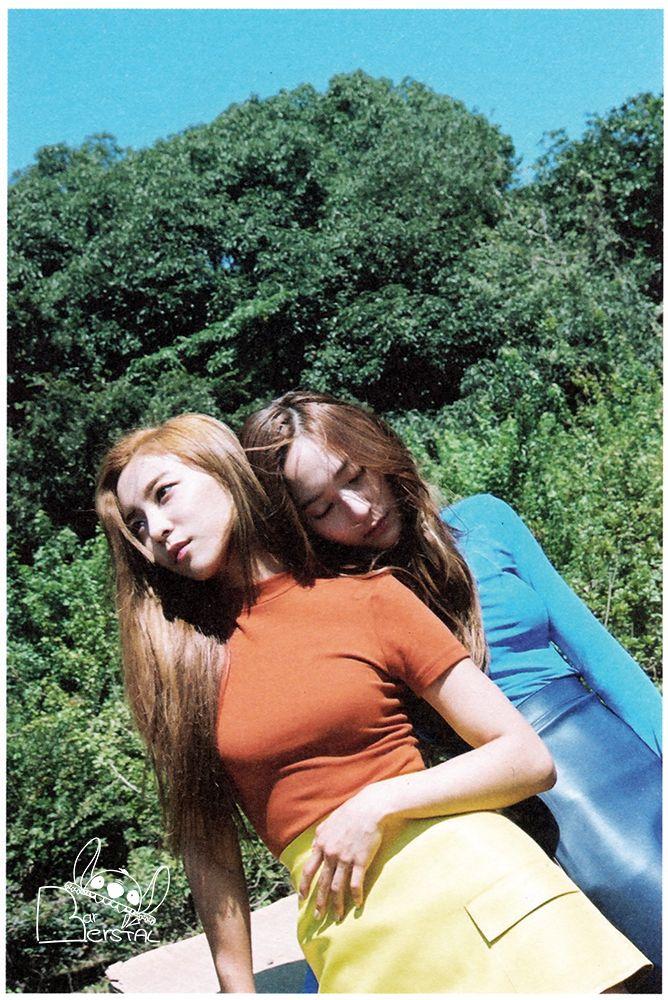 Tags: SM Town, K-Pop, f(x), Luna, Krystal Jung, Orange Shirt, Two Girls, Outdoors, Looking Away, Duo, Yellow Skirt, Eyes Closed