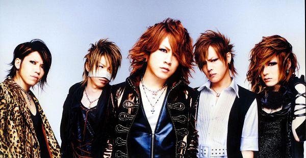 Tags: J-Pop, the GazettE, Aoi (the GazettE), Uruha (the GazettE), Ruki (the GazettE), Kai (the GazettE), Reita (the GazettE), Leopard Print, Looking Away, Blue Background, Black Outerwear, Medium Hair